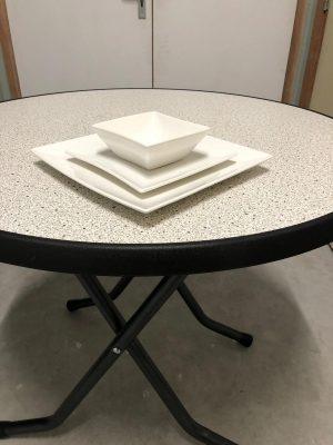 Vierkanten bordenset + kom